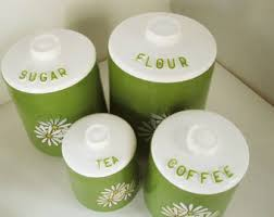 lime green kitchen canisters flour sugar tea etsy