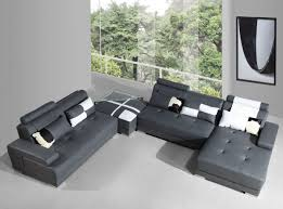 Leather Sectional Sofa With Ottoman by Divani Casa Phantom Modern Grey Leather Sectional Sofa With