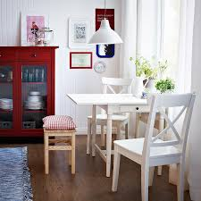 Dining Room Table Sets Ikea Ingatorp White Drop Leaf Table Seats 2 4 With Ingolf White Chairs