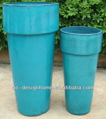 s 2 turquoise round outdoor tall glazed ceramic planter buy tall