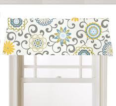 Lime Green Valances Window Topper Valance Mod Flowers Gray White Yellow Light