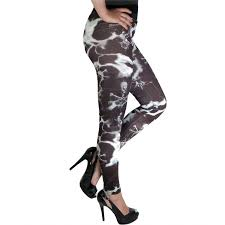 electric skull printed gothic footless tights in black and white