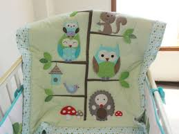 sale baby bedding set embroidery cartoon owls bird hedgehog