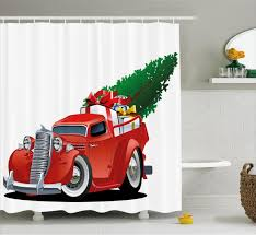 about christmas shower curtain red american truck bathroom decor