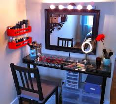 Lighting For Vanity Makeup Table Furniture Black Wooden Table Mirror With Lights Added Chair And