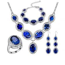 sapphire jewelry necklace images Mosuya sterling silver sapphire jewelry sets for women swarovski jpg