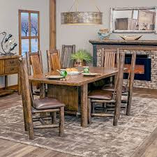 Log Dining Room Table Olde Towne Rustic Dining Table And Cedar Chairs With Leather Seats