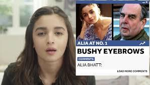 Bushy Eyebrows Meme - alia bhatt addresses her bushy eyebrows in this inspiring video