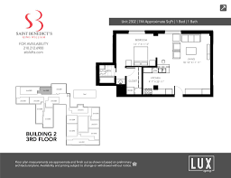 Floor Plan Measurements 2302 U2013 1 Bedroom 1 Bath 744 Sf 245 000 U2013 St Benedicts Lofts