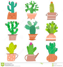 Cute Plant by Houseplant Vector Icon Set Cute Cactus Plant In Pots Isolated On