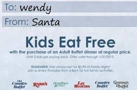 Ryan Buffet Coupon by Hometown Buffet 2 Kids Eat Free With Entree Purchase