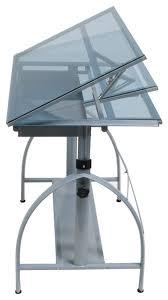 Metal Drafting Table Offex Avanta Multipurpose Drafting Table Silver Blue Glass