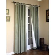 Patio Door Window Treatments Glass Door With White Wooden Bars Plus Long Gray White Curtains On