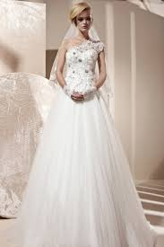 tulle one shoulder princess wedding dress with lace top a line