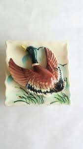 porcelain ceramic 3d flying duck ornament painted