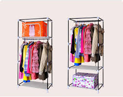 Bedroom Clothes Horse Rose Red Fabric Cupboard Bedroom Rack Shelve Rail Clothes Storage