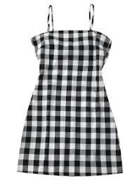 slip tie back plaid dress black white casual dresses s zaful
