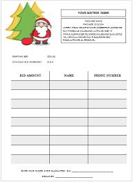 christmas silent auction bid sheet silent auction bid sheet