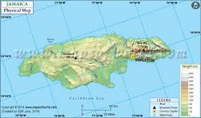 jamaica physical map map of jamaica