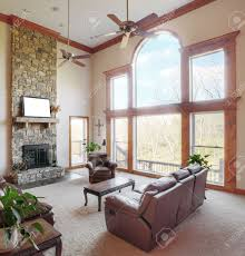Livingroom Windows by Traditional Living Room Interior With A High Ceiling And Large