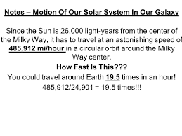 How Fast Is Light Notes U2013 Motion Of Our Solar System In Our Galaxy Ppt Video