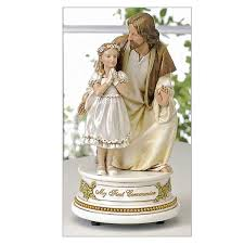 communion gift girl with jesus musical communion statue