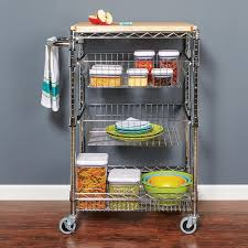 industrial post racks carts and steel wire shelving ideas storables kitchen cart with butcher block top