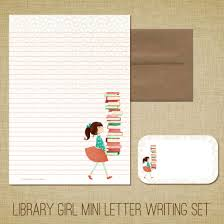 writing paper set mini letter writing set library girl cute kids stationery set mini letter writing set library girl cute kids stationery set library books reading librarian
