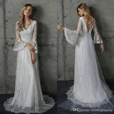 trumpet sleeve wedding dress discount gorgeous country bohemian wedding dresses a line v
