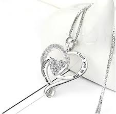valentines necklace sterling silver necklace heart pendant infinity jewelry box