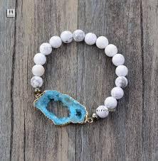 fashion elastic bracelet images Druzy bracelet 8mm natural stones with gilded drusy stretch jpg