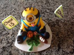 12 inch chocolate cake with chocolate buttercream frosting minion