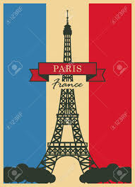 French Flag Eiffel Tower Banner With Paris Eiffel Tower Against The French Flag Royalty