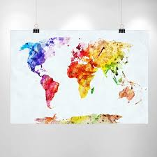 Map Home Decor Large Watercolor World Map Print Home Decor Print Poster Ikea