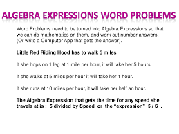 algebra expressions in word problems