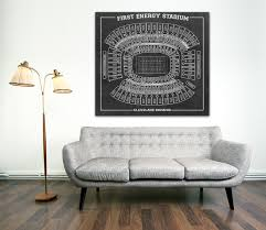 Cleveland Browns Home Decor by Stadium Football Seating Chart Print Blueprint On Photo Photo