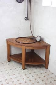 Wood Shower Stool Teak Corner Shower Stool With Shelf Bench Decoration