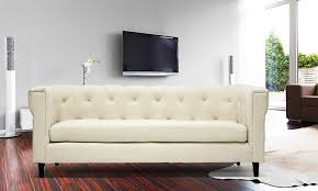 Modern Chesterfield Sofa by Cortland Chesterfield Linen Sofa Groupon Goods
