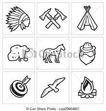 vector clipart indians wild west gold rush icons