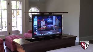 auto raising tv cabinet motorized tv lift youtube