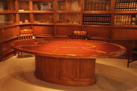 Oak Meeting Table Oval Leather Top Conference Room Table Solid Oak Wood