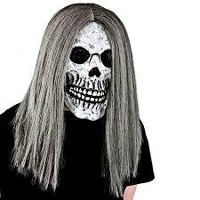halloween skeleton white clown mask with grey hair mk9918