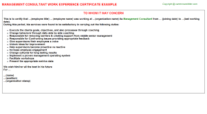 management consultant work experience certificate