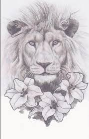 this lion only with a crown and without the flowers inked
