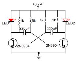 astable multivibrator 2 led flashing circuit 2n3904 3 7v