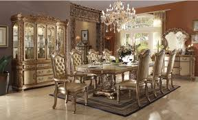 acme vendome 9 piece double pedestal dining set in gold patina