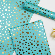 turquoise wrapping paper gold spot sea mist wrapping paper rex london dotcomgiftshop