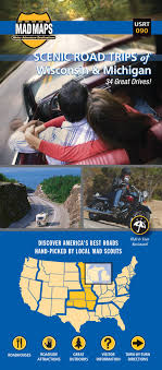 wisconsin scenic drives map mad maps usrt090 scenic road trips map of wisconsin and michigan