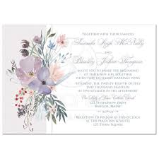wedding invitations greenery bohemian wildflowers wedding invitation smoky lavender blue