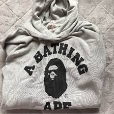 a bathing ape bape pullover hoodie ash l authentic jp rare